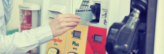 Credit card at gas station